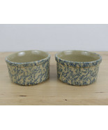 Lot of 2 Roseville Pottery Crocks RRP Blue Spongeware Small 8 Oz. about ... - $29.69