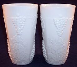 "Lot of 2 Colony Harvest White Milk Glass 5-3/4"" Grape Cluster Drinking Glasses - $18.99"