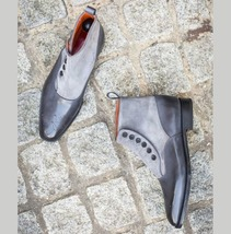 Handmade Two Tone Button Boots, Men Gray Suede And Leather Button Boot - $179.99