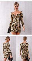 New Sexy Long Sleeve Sequinned Deep V Gold Mini Club Dress image 2