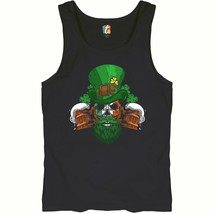 Leprechaun Skull Beer Mugs Tank Top Irish Flag St. Patrick's Day Men's Top - $14.09+