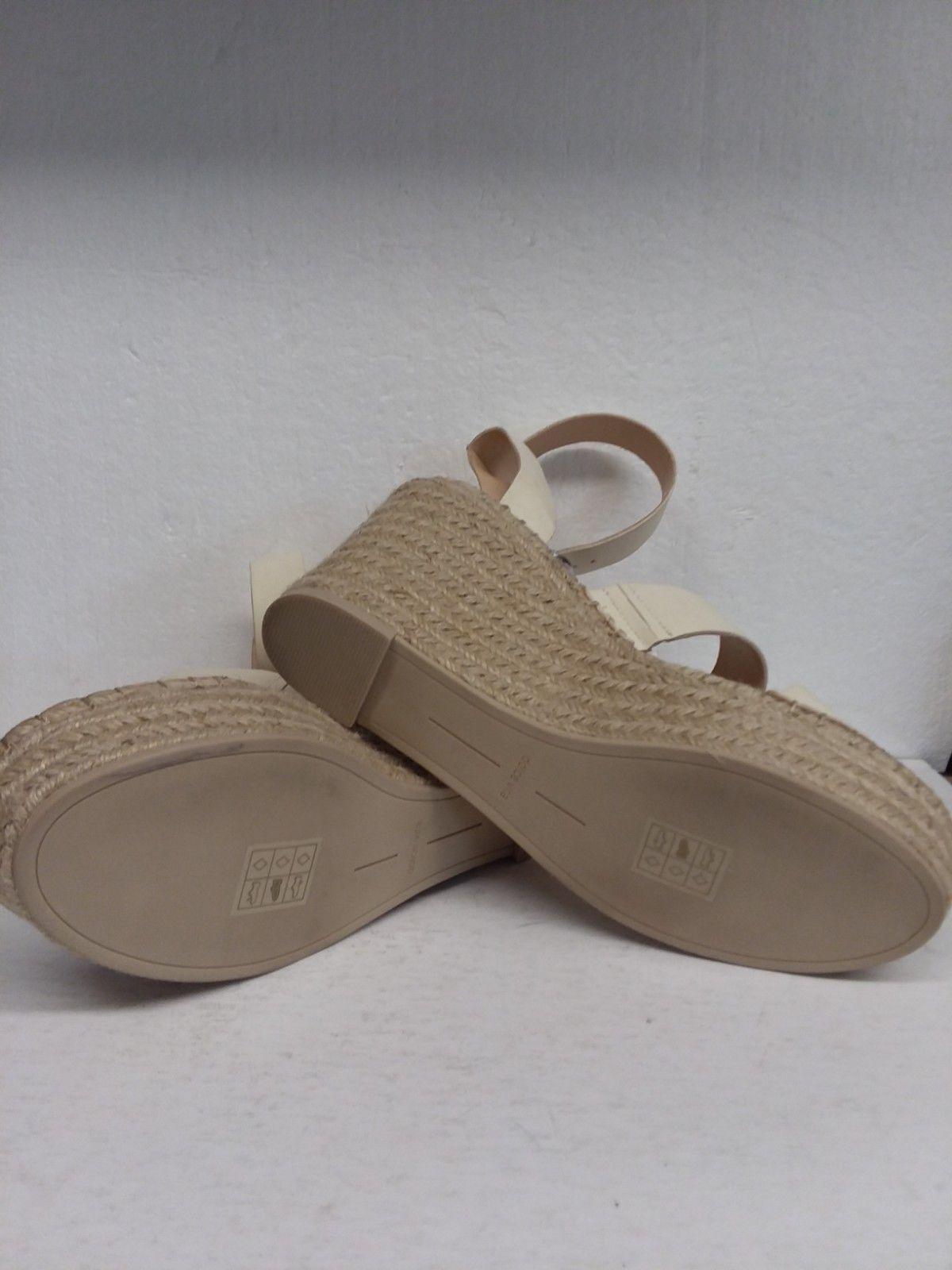 Dolce Vita Women's White Stella Leather Wedge Sandals Size 9.5