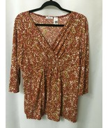 Liz & Co. stretch knit top womens XL empire waist Pull Over Fall colors  - $13.61
