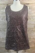 Liz Claiborne Womens Brown Sequin Mesh Neck Sleeveless Tank Size Extra L... - $9.92