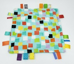 TAGGIES BRIGHT STARTS SQUARE PATTERN BLUE & TEAL SECURITY BLANKET STUFFE... - $23.95