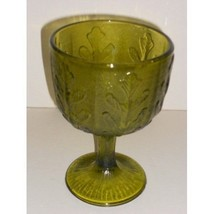 Green Glass Compote Dish Leaf Pattern - $2.99