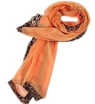 Fashion Nice Woman and Girl Leopard Solid Infinity Chiffon Scarf Shawl Orange