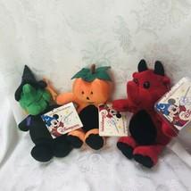 Disneyland Paris - 3 Plush Minis Devil Witch Pumpkin 8inch La Magie Des ... - $36.41