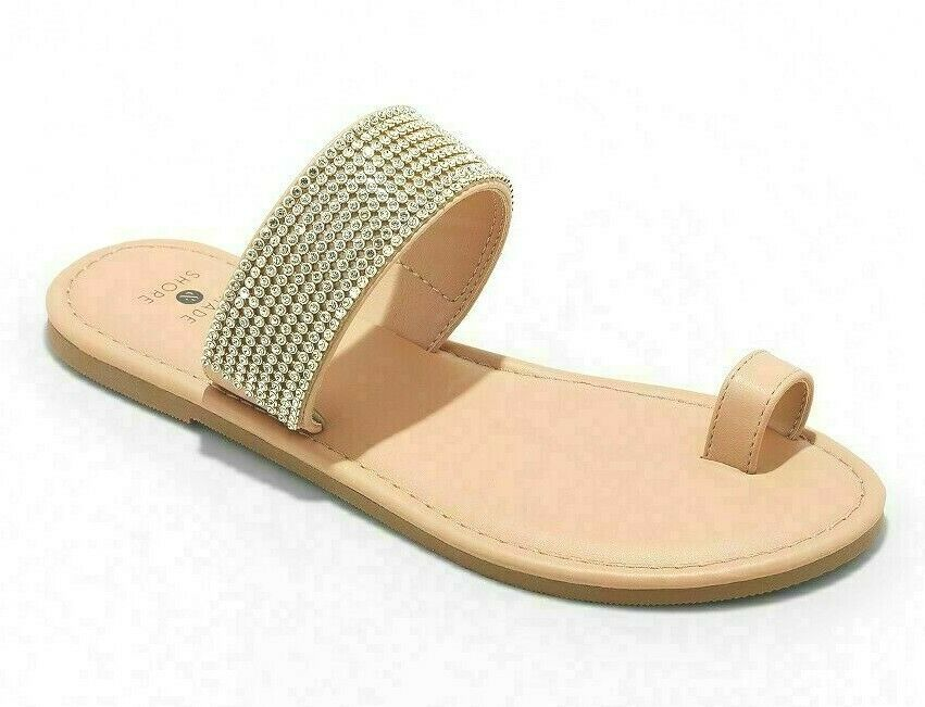 Shade & Shore Womens 7 Wide Tan/Kaci Toe Ring Crystal Embellished Slide Sandals