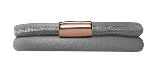Endless Jewelry Double Wrap Grey Genuine Leather with Rose Gold Tone Steel Magne