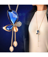 Butterfly Necklaces - Gold Plated - Classic Crystal - Long Necklace Women - $34.99