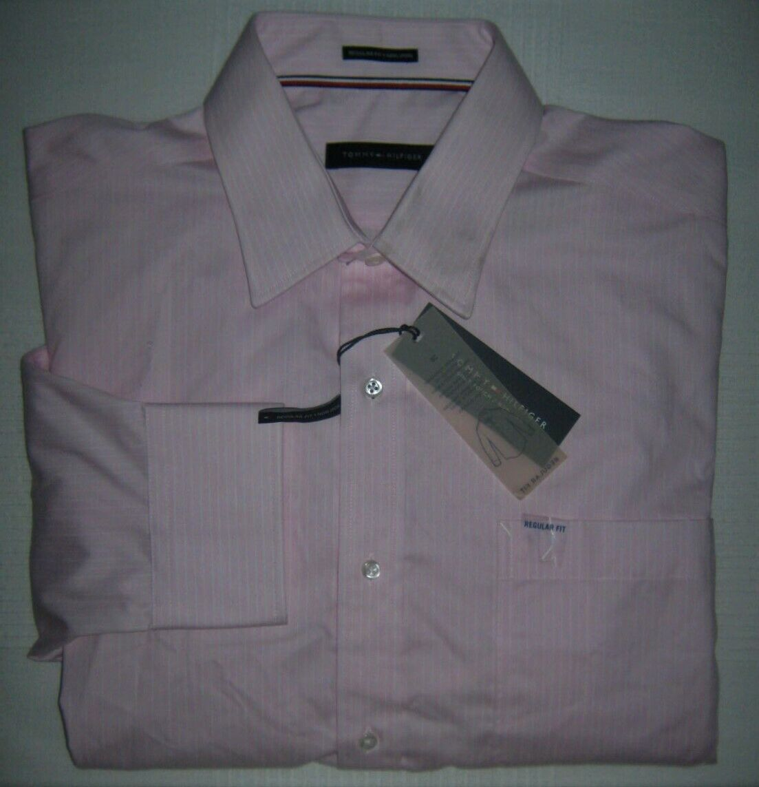 Tommy Hilfiger Classic Fit Non-Iron Pink Banker Stripe Dress Shirt 16.5  32-33