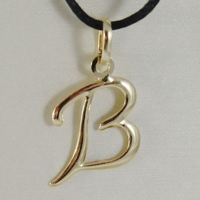 PENDANT YELLOW GOLD 18K WITH INITIAL B LETTER B GLOSSY 2,5 CM WITH CORD
