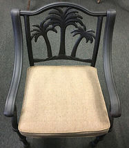 Palm tree patio furniture outdoor cast aluminum chairs set of 4 Desert Bronze image 3