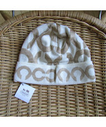 Coach Hat Signature Knit Beanie Ivory Gold NEW - $67.32
