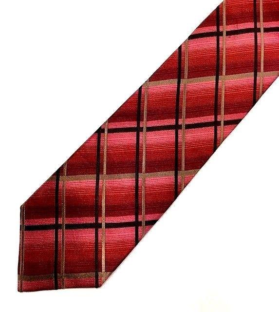 New KENNETH COLE REACTION Men's Tie Burgundy, Black, Brown Fine Silk Neck Tie