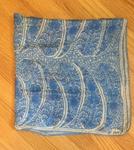 Vintage 60s Vera Neumann square silk scarf (Blue and white large paisley) image 2