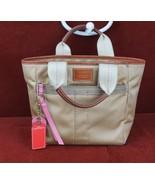 COACH Hampton Purse Handbag Gold Nylon Satin With Leather Trim  - $19.85