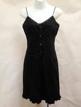 Ralph Lauren XS Shirt Dress Black Lace Trim Spaghetti Strap Ruffle Sundress - €20,93 EUR