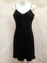 Ralph Lauren XS Shirt Dress Black Lace Trim Spaghetti Strap Ruffle Sundress - $23.50
