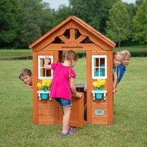 Wood Playhouse Kids Outdoor Cedar Backyard Play Cottage Children Large C... - $287.89