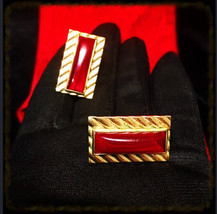 1960's Steampunk Oxblood Red Glass Cuff Links, Vintage Gothic Blood Red ... - $28.99