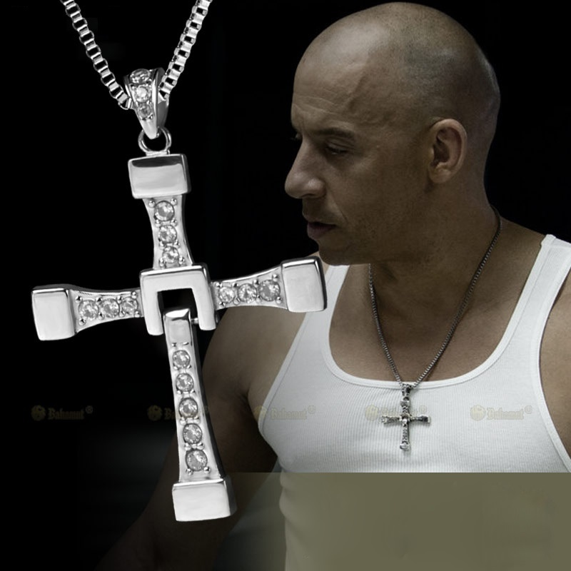 The Fast and The Furious Vin Diesel Titanium Steel Jesus Cross Pendant Necklace