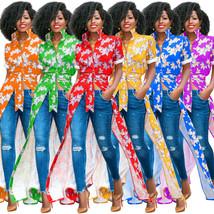 Women Floral Printed Maxi Dress Turn Down Collar Casual Boho Long Shirt ... - $26.99