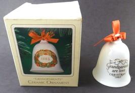 Hallmark 1983 Ceramic Ornament Bell GRANDPARENTS with Box  - $9.89