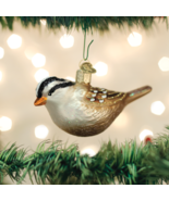 OLD WORLD CHRISTMAS WHITE CROWNED SPARROW BIRD GLASS CHRISTMAS ORNAMENT ... - $12.88