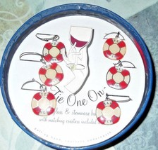 Tie One On Nautical Theme Wine Glass Charms and Coasters - $14.01