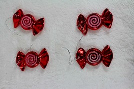 Lot of Four Christmas Ornaments Red Candy Glitter Christmas Tree Decorat... - $9.89