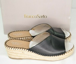 Franco Sarto Pinot Sandals Sz 9 M Black Leather Womens Wedge espadrilles - $40.50