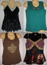 LOT OF FOUR EMBELLISHED Decorated TANK TOPS SZ M - $17.50