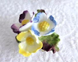 Vintage Brooch Bone China Flowers England 1950s Primroses Blue Purple Ye... - $38.00