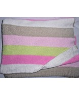 Carters Comfy Cozy Chenille Baby Blanket Stripes Pink Green Tan White - $54.33