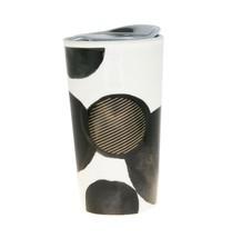 Starbucks Black Watercolor Polka Dot Tribute Ceramic Traveler Tumbler Mug 10 oz - $48.50