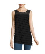 Alyx Assymetrical Ruffle Top Size M Msrp $48.00 Black New - $19.99