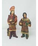 Indian Couple w/harvest wood figurines Thanksgiving holiday decor set of 2 - $69.30