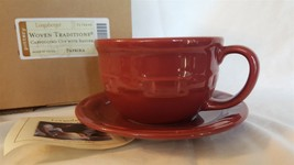 Longaberger Pottery Woven Traditions Paprika Red CAPPUCCINO CUP SAUCER 3... - $19.95