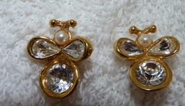 Bug Earrings - Gold Tone, Clear Stone, Faux Pearl,Post Earrings - $4.95