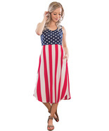 American Flag Print Casual Pocket Style Tank Dress  - $22.02