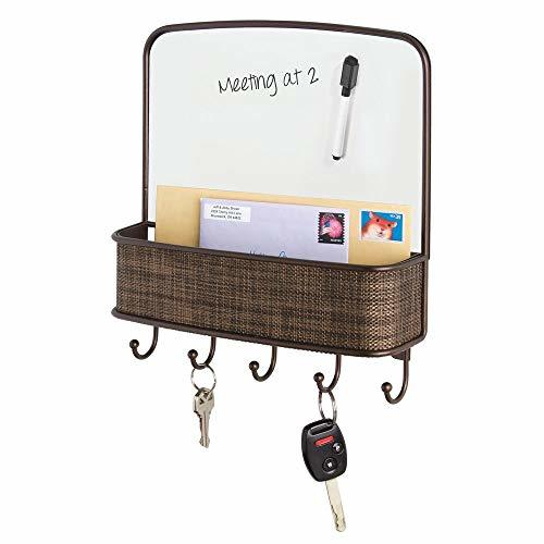 mDesign Dry Erase Board with Mail and Key Organizer for Kitchen, Hallway, Entryw