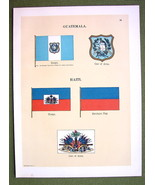 FLAGS HAITI Guatemala Naval Marine Coat of Arms - 1899 Color Antique Print - $13.05