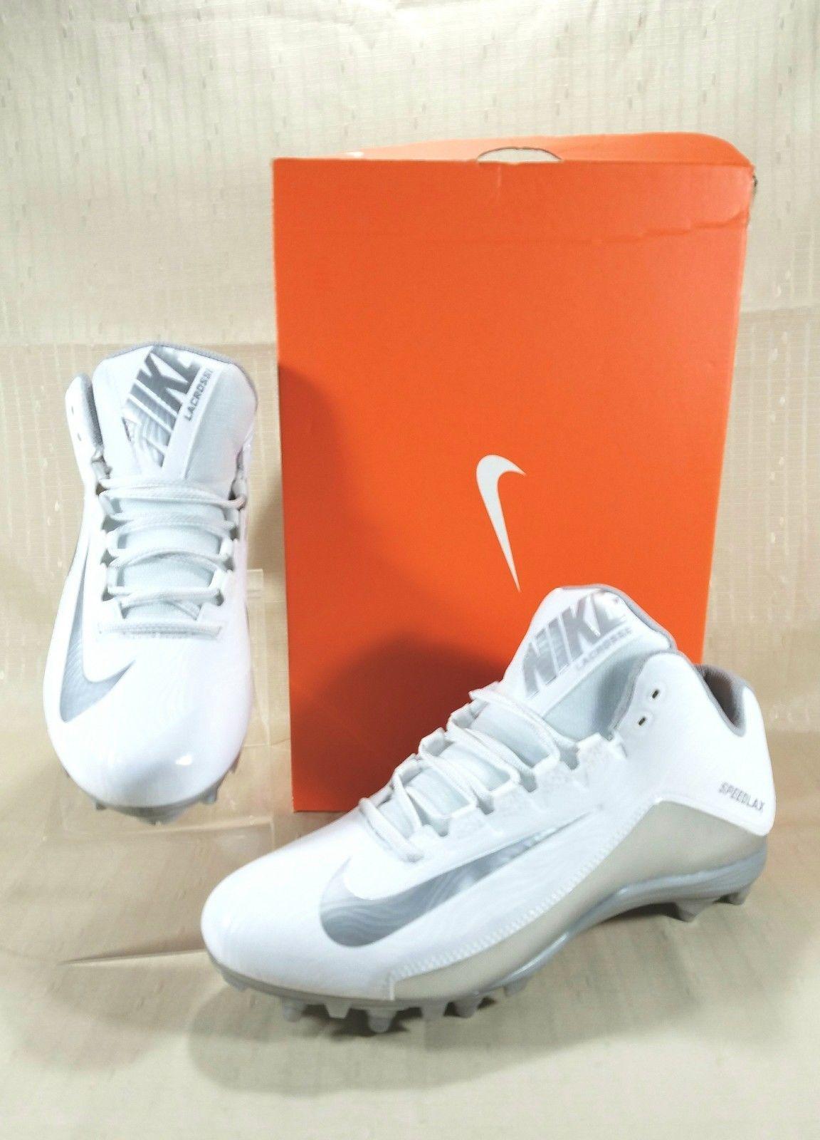 half off a94c7 da2e7 S l1600. S l1600. Previous. Nike SpeedLax 5 Mid Lacrosse Cleats Men s Size  10.5 White   Silver ...