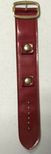 Primary image for Vintage 1970s Wide Apple Red Boho Hippy Mod Leather Watch Band Gold Tone Buckle