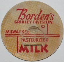 Vintage milk bottle cap BORDENS Gridley Division Pasteurized Milwaukee W... - $9.99