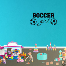 Wall Decal Soccer Girl Decor Removable Sports Vinyl Inspirational Sticke... - $9.49+