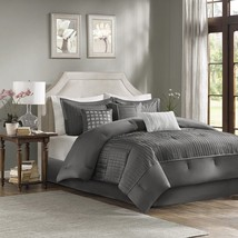 Luxury 7pc Grey Small Pleatings Comforter Set AND Decorative Pillows - $156.74+
