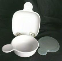 Lot of 2 Corning Ware Grab It Bowl Snack It Plate Heat 'n Eat White Plastic Lid - $23.38